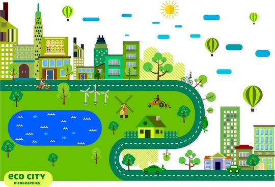 eco city infographic green city sketch various symbols