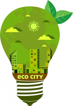 eco city logo vignette green city in bulb