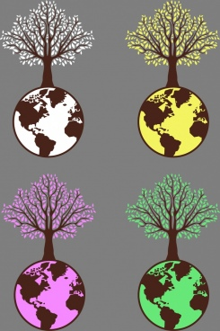 eco design elements tree earth icons isolation