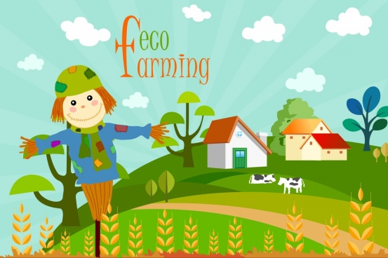 eco farming background field scene dummy icons