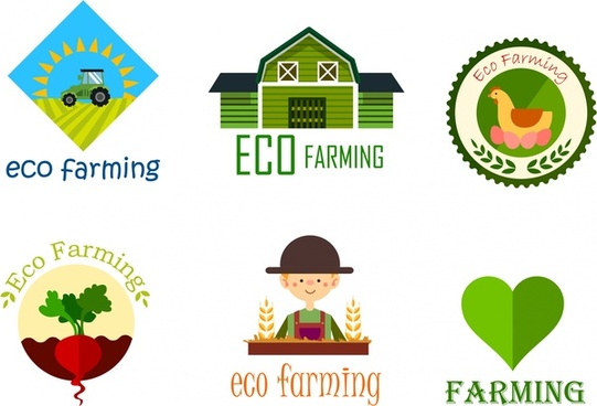 eco farming logo sets various colorful symbols design