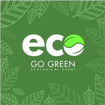 eco flyer design white text green leaves decoration