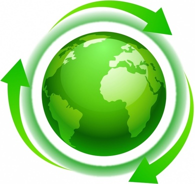 eco green world or north america with arrows