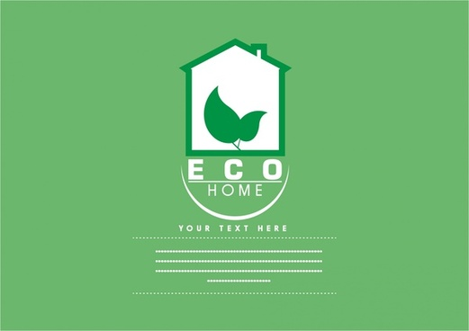 eco home banner green leaf house logo design