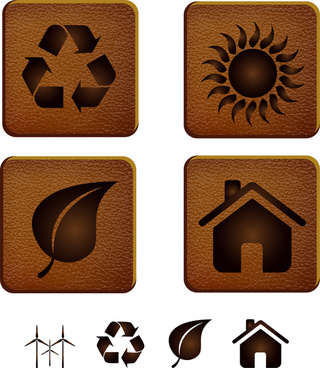 eco icon on leather background