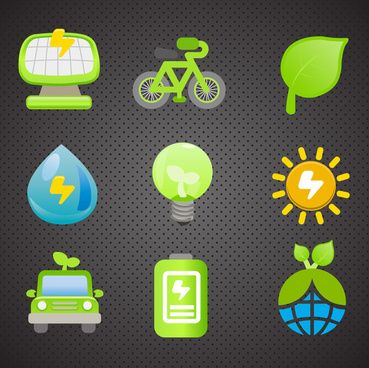 eco icons collection with multi shapes illustration