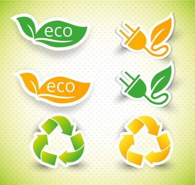 eco icons collection with various shapes