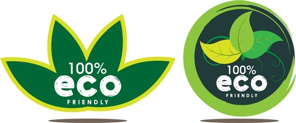eco icons sets green circle and leaf design