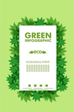 eco infographic banner green leaves decoration
