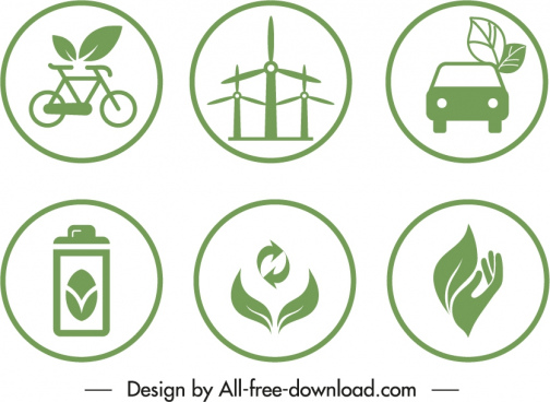 eco label templates green flat design environmental symbols