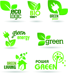 eco labels and logos vector set