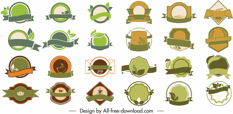 eco labels templates collection classic flat shapes