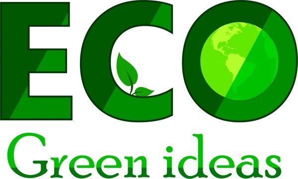 eco logo idea green words and globle icons