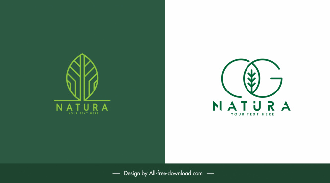 eco logo templates green flat leaf sketch