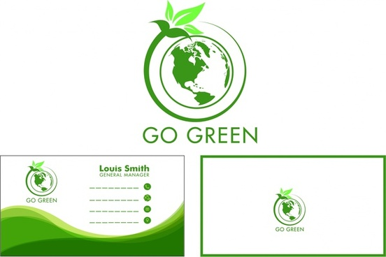 eco name card design green globe leaf style