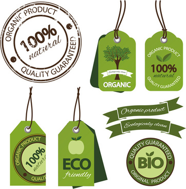 eco ribbon with tags design vector