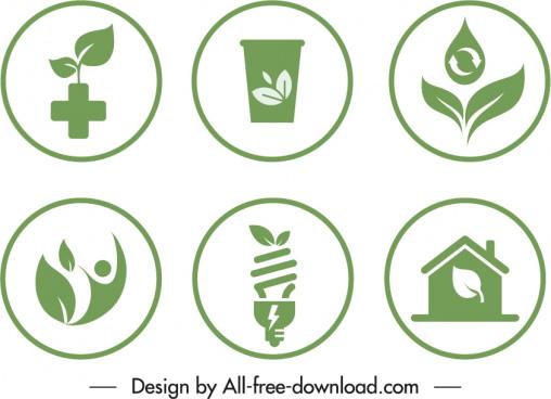eco sign templates green flat symbols circle isolation