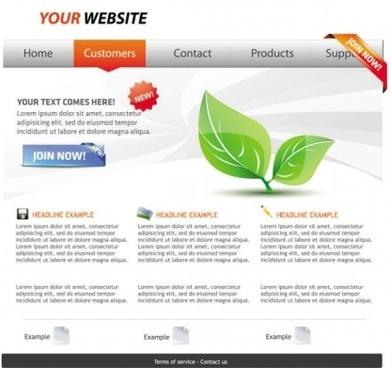 eco theme website template vector