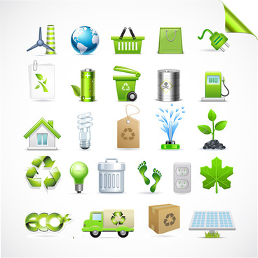 eco with bio elements of stickers and icon vector