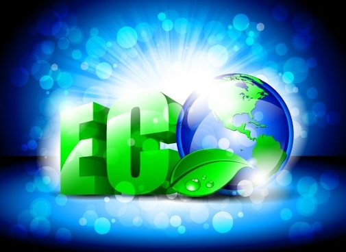eco with earth blue background vector