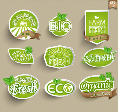 eco with organic food stickers vector