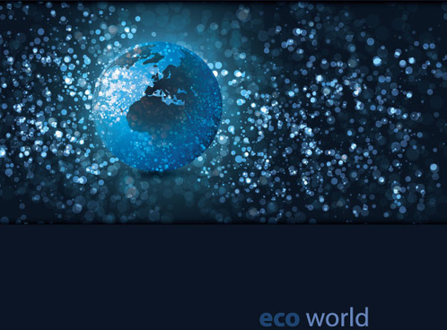 eco with world elements vector graphic