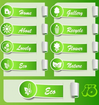 ecology labels templates shiny green 3d sketch