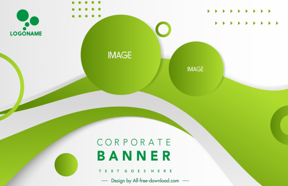 ecological banner template dynamic decor green circles lines