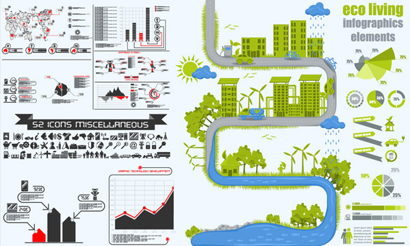 ecological energy saving statistical chart vector set