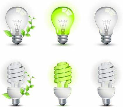 Ecological lightbulbs icon set