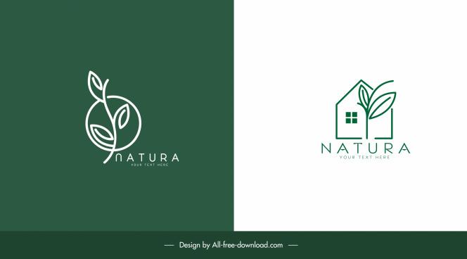 ecological logotypes house leaf sketch green flat design