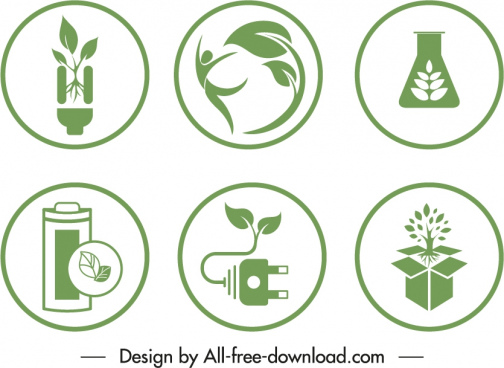 ecological sign templates green flat environmental elements