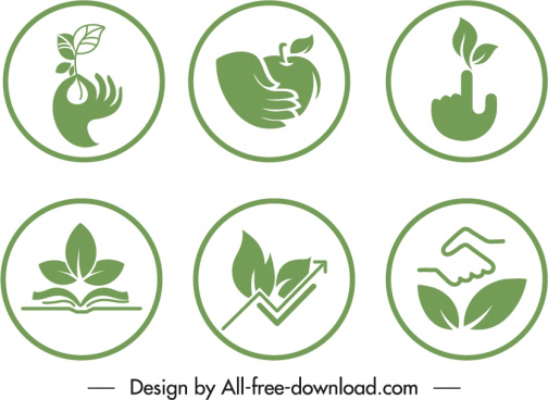 ecological sign templates green flat symbols sketch