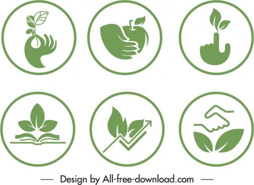 ecological sign templates green flat symbols sketch
