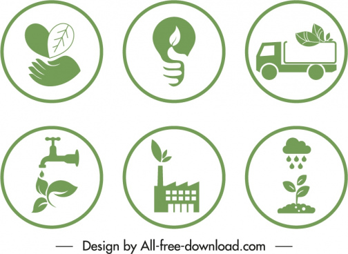 ecological signs templates green flat symbols sketch