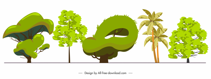 ecological trees icons green handdrawn design