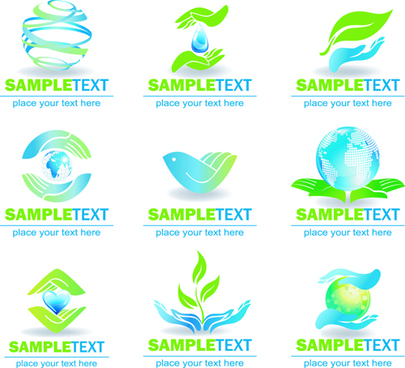 ecology and earth creative logos vector set