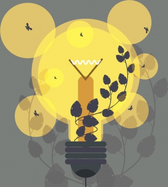 ecology background yellow lightbulb leaves icons silhouette decor