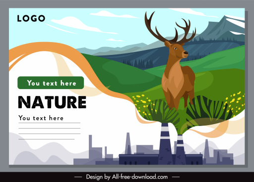 ecology banner contrasted factory nature elements sketch