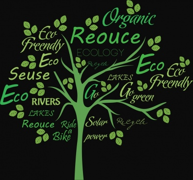 ecology banner dark green design tree texts decoration