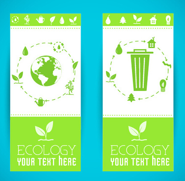 ecology banner green style vector
