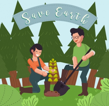ecology banner people growing tree icon cartoon design