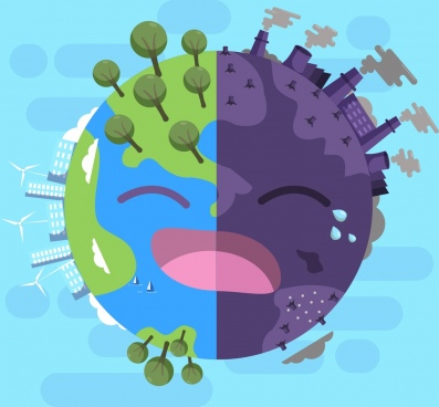 ecology banner stylized earth icon fresh pollution decor