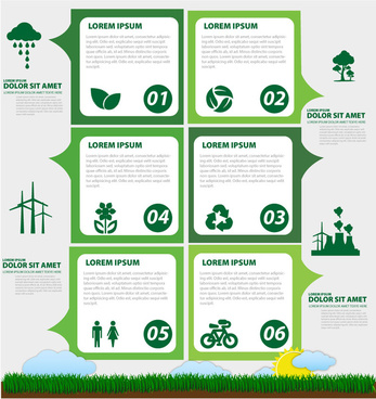 ecology banner with infographic illustration in green color