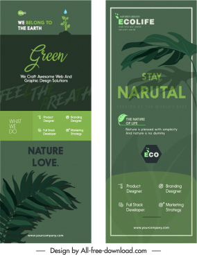 ecology banners dark green leaves decor vertical shapes