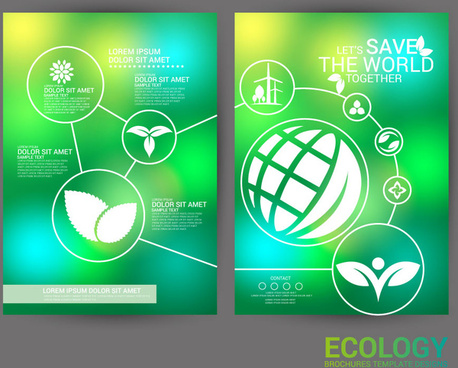 ecology brochure design with green bokeh background