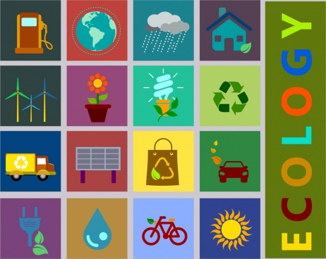ecology design elements various flat icons squares isolation