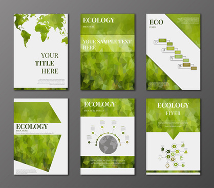 ecology flyer and cover brochure vectors