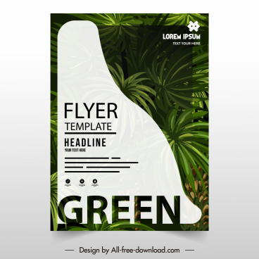 ecology flyer cover template elegant green leaves decor