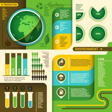 ecology green infographic set
